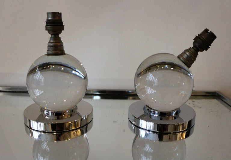 Mid-20th Century Iconic Pair of Table Lamps by Jacques Adnet and Baccarat, Art Deco, 1930s For Sale