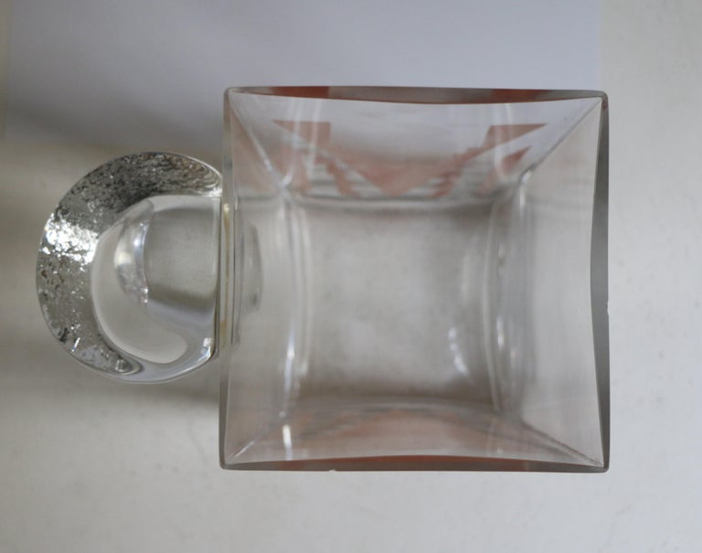 Glass Cubist Art Deco Vase by A Riecke, France, from Restaurant La Coupole, Dated 1937 For Sale