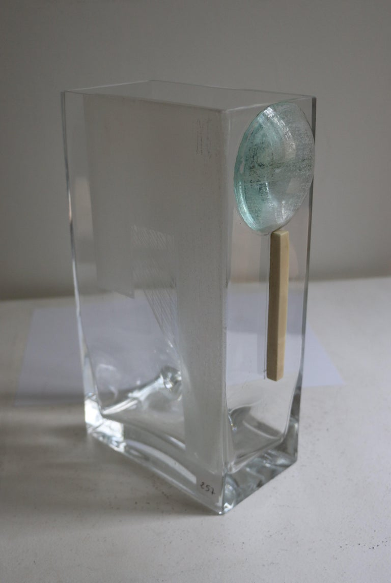 Glass Cubist Art Deco Vase by A Riecke, France, Signed and Dated 1939 For Sale