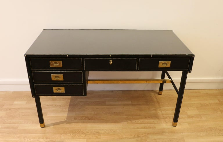 Mid-Century Modern Rare Desk and Armchair by Jacques Adnet, Stitched Leather and Skaï, 1950s For Sale