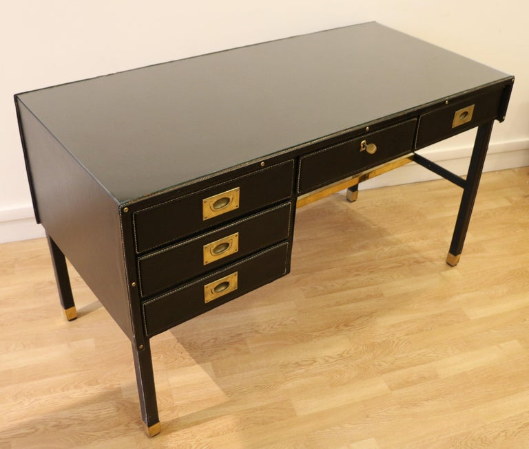 Mid-20th Century Rare Desk and Armchair by Jacques Adnet, Stitched Leather and Skaï, 1950s For Sale