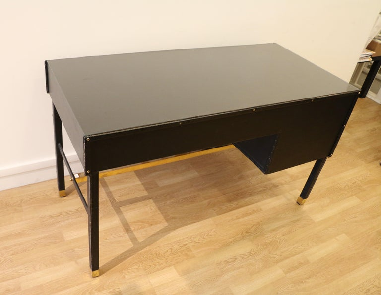Rare Desk and Armchair by Jacques Adnet, Stitched Leather and Skaï, 1950s For Sale 3