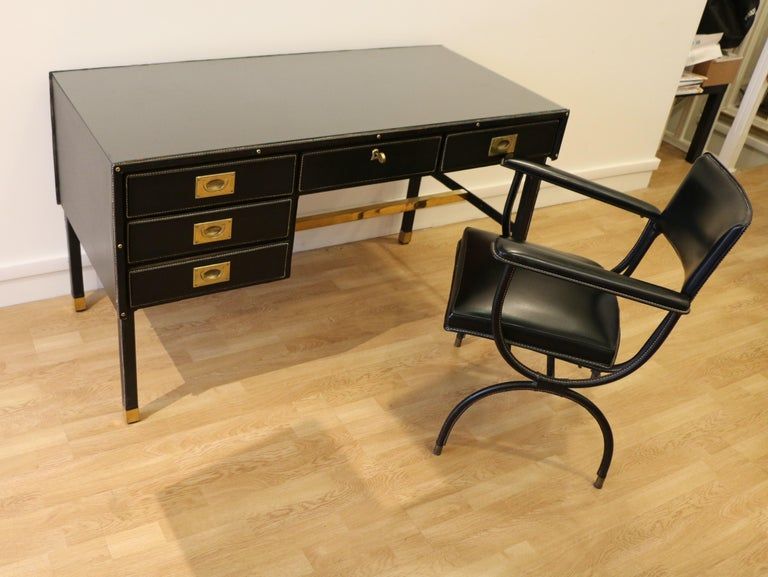 Rare Desk and Armchair by Jacques Adnet, Stitched Leather and Skaï, 1950s For Sale 4