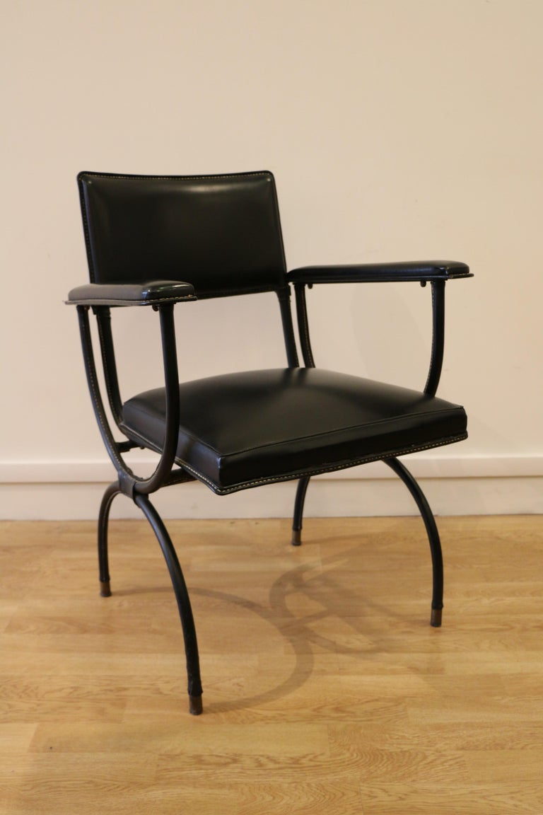 Rare Desk and Armchair by Jacques Adnet, Stitched Leather and Skaï, 1950s For Sale 5