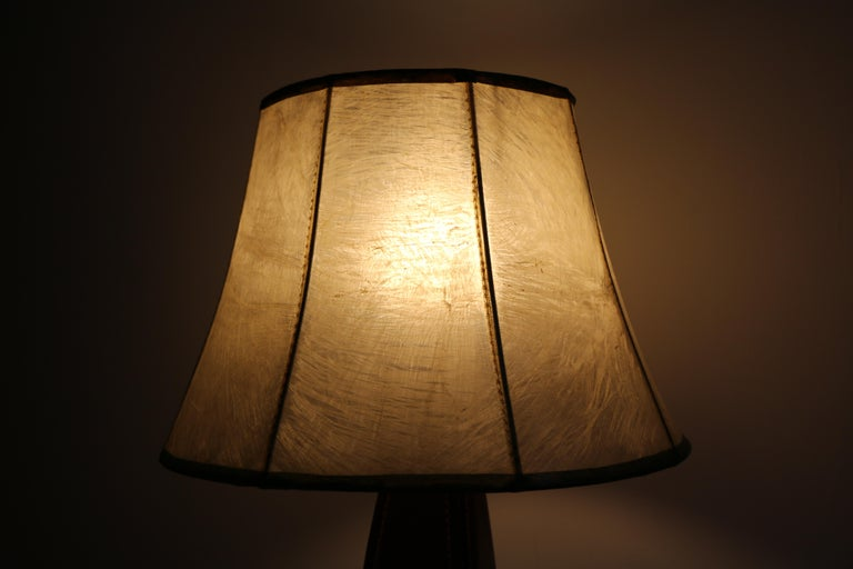 Table Lamp by Jacques Adnet, Stitched Leather, France, 1950s For Sale 1