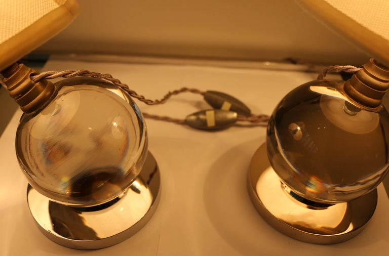 Iconic Pair of Table Lamps by Jacques Adnet and Baccarat, Art Deco, 1930s For Sale 3