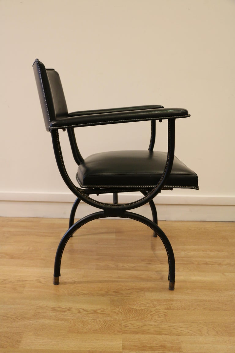 Rare Desk and Armchair by Jacques Adnet, Stitched Leather and Skaï, 1950s For Sale 6