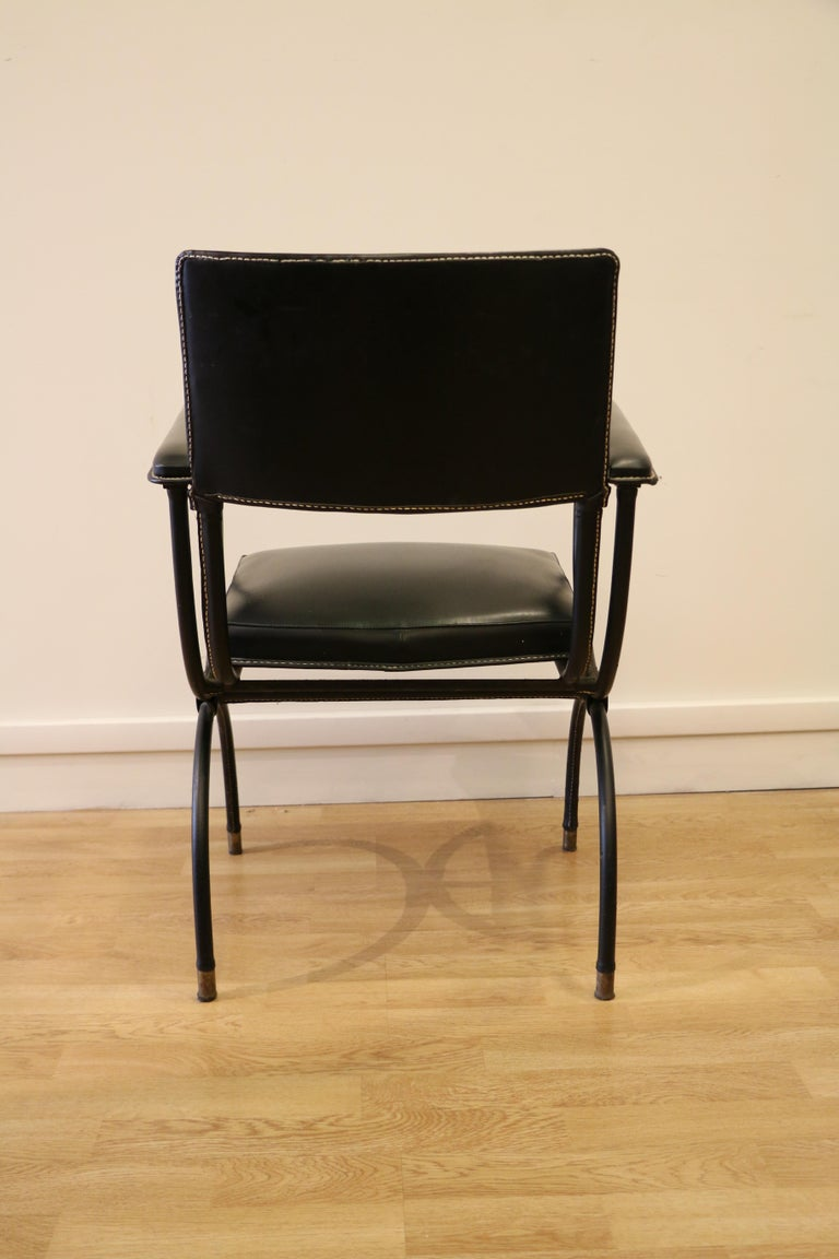 Rare Desk and Armchair by Jacques Adnet, Stitched Leather and Skaï, 1950s For Sale 7