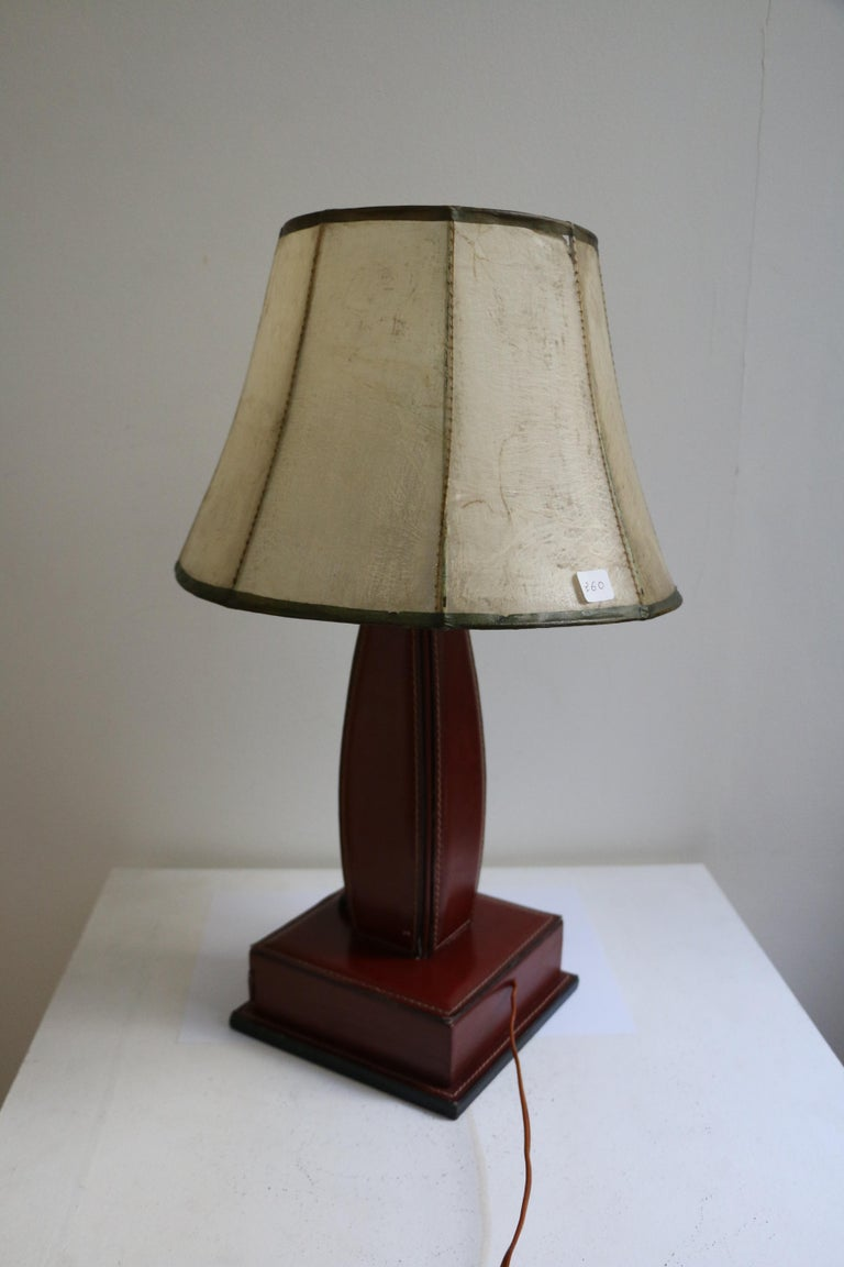 Mid-20th Century Table Lamp by Jacques Adnet, Stitched Leather, France, 1950s For Sale
