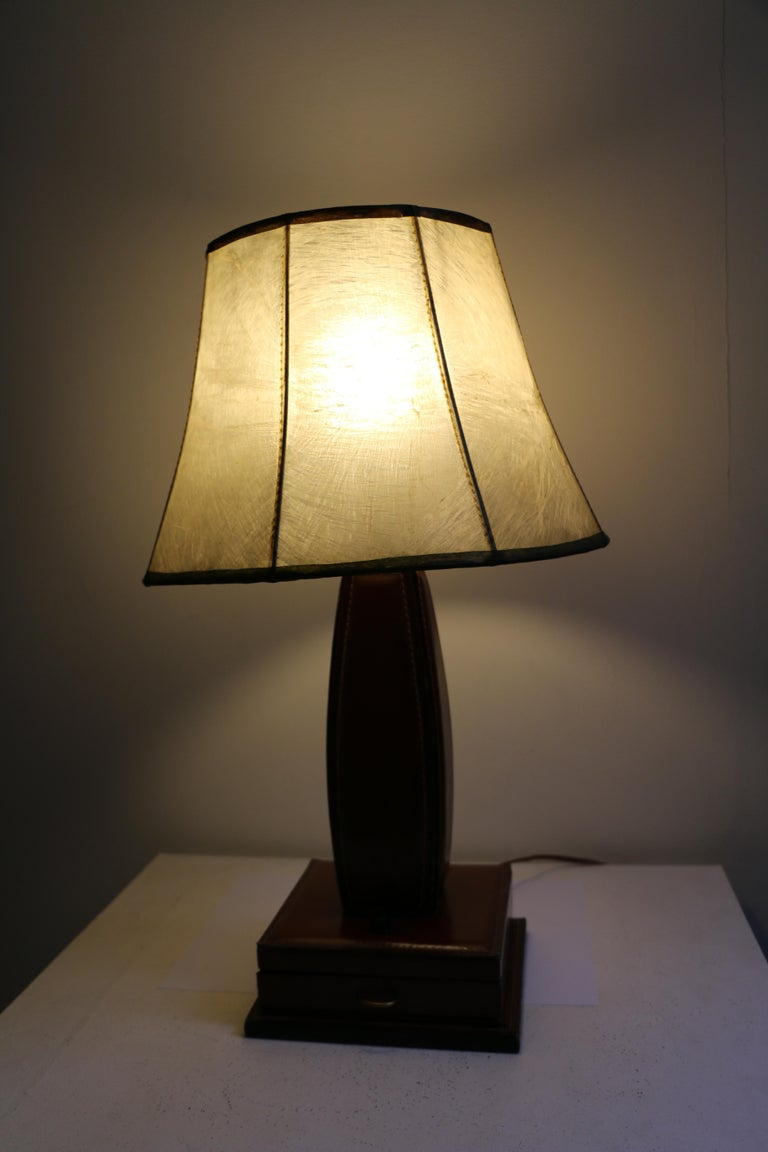 Brass Table Lamp by Jacques Adnet, Stitched Leather, France, 1950s For Sale