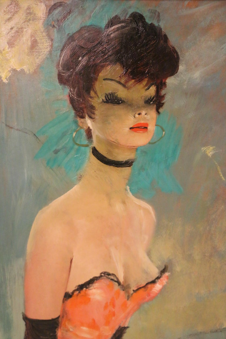 French Stunning Portrait by J-G Domergue, France, with Noé Willer Certificate For Sale