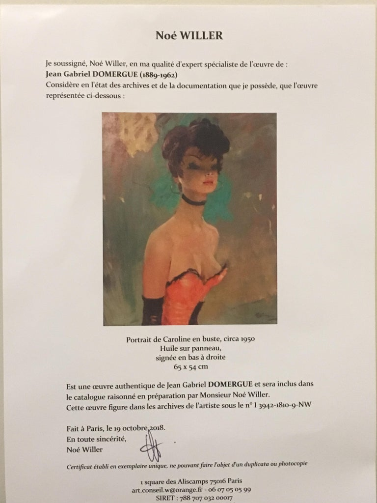 Stunning Portrait by J-G Domergue, France, with Noé Willer Certificate For Sale 3