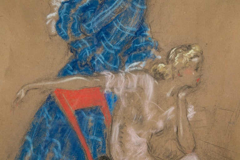 Painted Two Ladies by Louis Icart, Pastel and Charcoal Drawing, 1930s For Sale