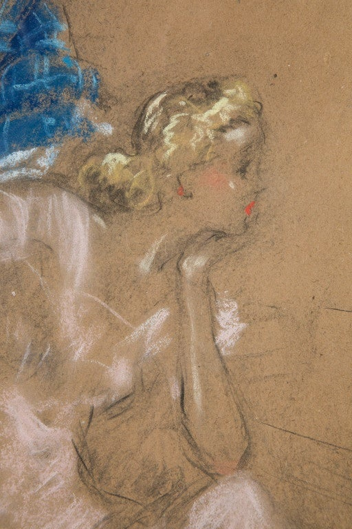 Two Ladies by Louis Icart, Pastel and Charcoal Drawing, 1930s In Good Condition For Sale In Paris, FR