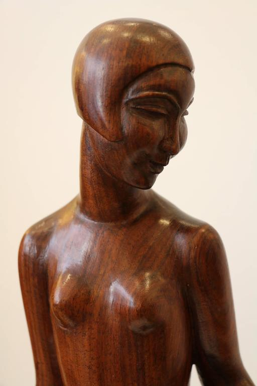 Diane art d co woodcarving sculpture by genevi ve granger france circa 193 - Statue deco interieure ...