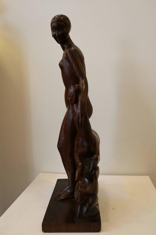 Art Deco Diane, Art Déco Woodcarving Sculpture by Geneviève Granger, France, circa 1930 For Sale