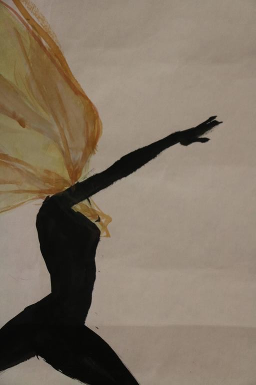 Mid-20th Century Spectacular Drawing of a Dancer by René Gruau, France, circa 1950 For Sale
