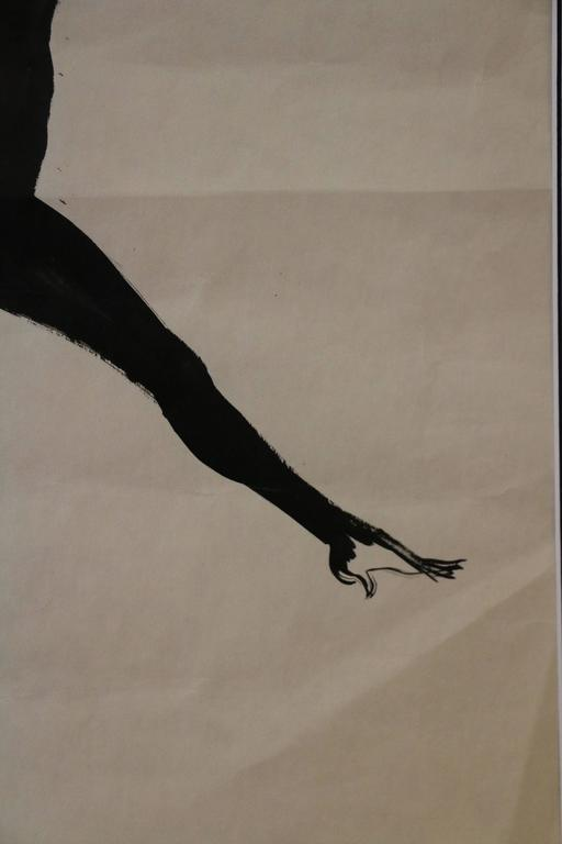 Paper Spectacular Drawing of a Dancer by René Gruau, France, circa 1950 For Sale