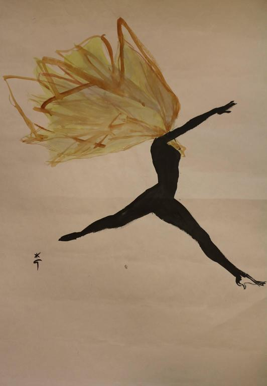 Drawing by René Gruau (1909-2004) showing a dancer, circa 1950.  Ink and watercolor on paper.   Signed bottom left.   Dimensions: without frame: 64 x 48 cm with frame: 86 x 70 cm.