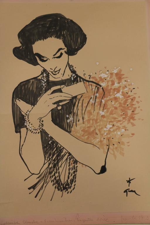 Drawing by René Gruau (1909-2004) showing a lady receiving a bunch of flowers. Ink and watercolor on paper. Signed bottom right. The drawing is annotated