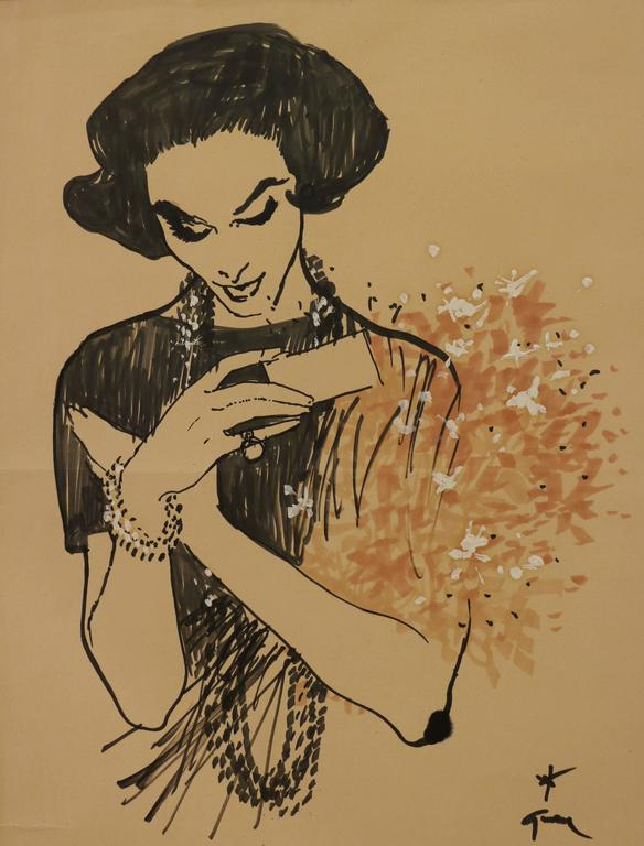 French Drawing of a Lady Receiving a Bunch of Flowers by René Gruau, circa 1957 For Sale