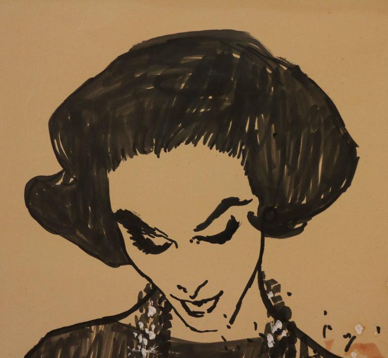 Drawing of a Lady Receiving a Bunch of Flowers by René Gruau, circa 1957 In Good Condition For Sale In Paris, FR