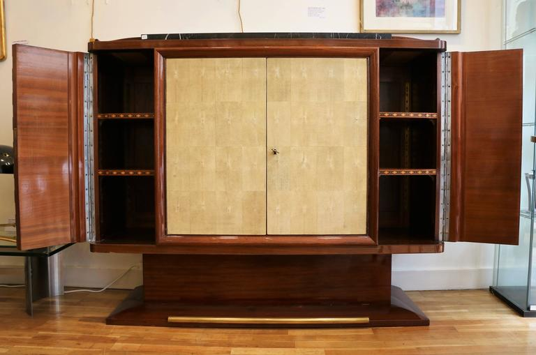 Mahogany Sideboard with Shagreen by Gaston Poisson, France, Art Deco, 1930s For Sale 4