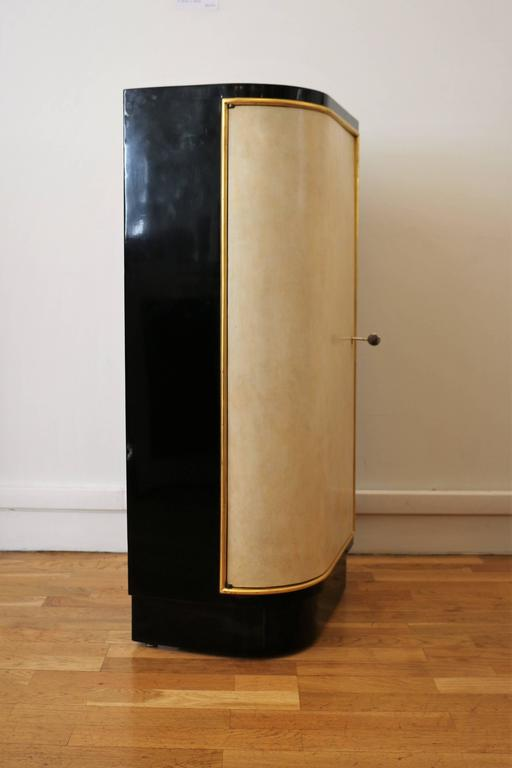 French Small Lacquered Bar Cabinet, By Maison Dominique, France, Art Deco,  1940s