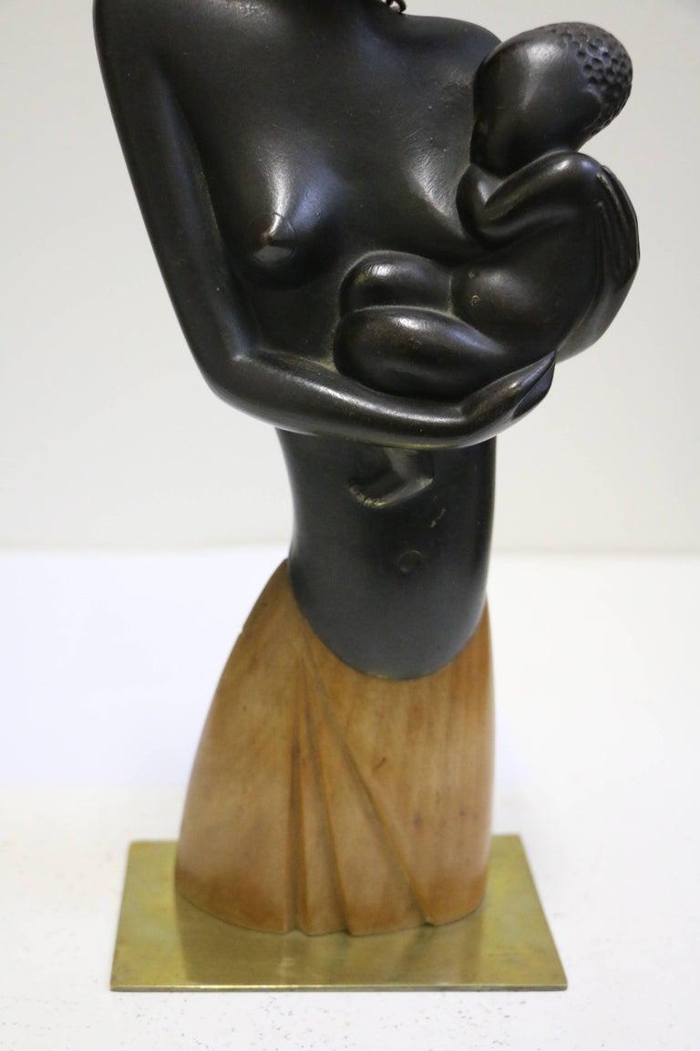 Austrian Bronze Sculpture by Karl Hagenauer, Lady with Child, Art Deco, Austria For Sale