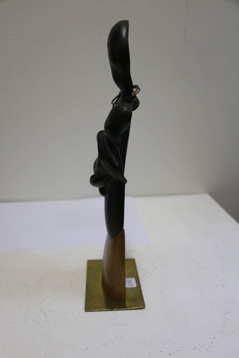Early 20th Century Bronze Sculpture by Karl Hagenauer, Lady with Child, Art Deco, Austria For Sale