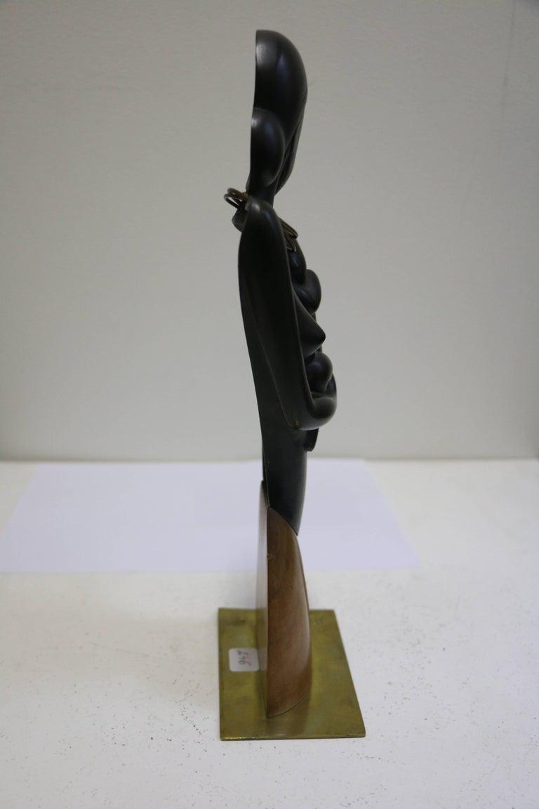 Brass Bronze Sculpture by Karl Hagenauer, Lady with Child, Art Deco, Austria For Sale