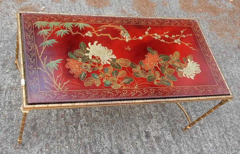 1950-1970 Coffee Table in the Style of Maison Baguès Red Lacquer of China 2