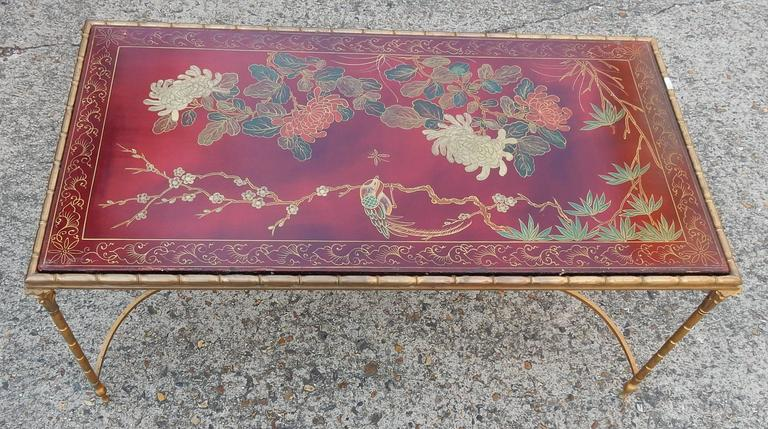 1950-1970 Coffee Table in the Style of Maison Baguès Red Lacquer of China 6