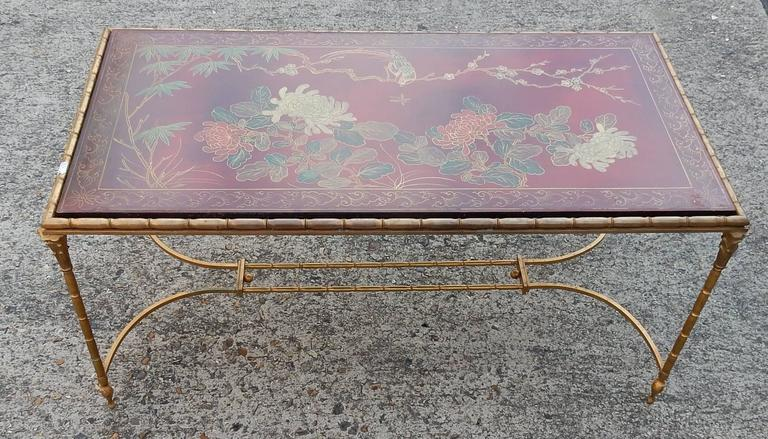 1950-1970 Coffee Table in the Style of Maison Baguès Red Lacquer of China 4