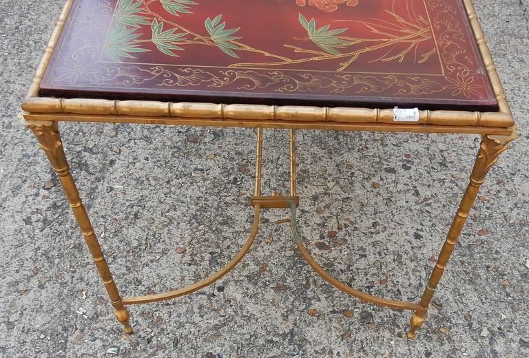 1950-1970 Coffee Table in the Style of Maison Baguès Red Lacquer of China 3