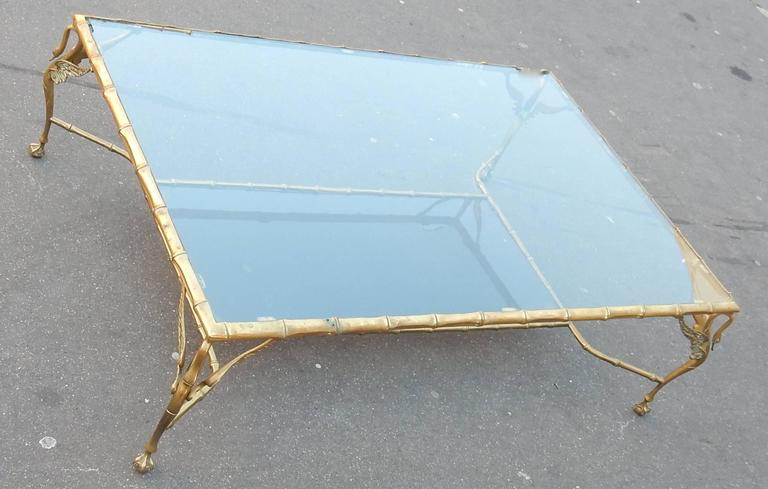 Empire 1950-1970 Bronze Coffee Table with Swans and Its Six Pieces of Sofas Signed GAD  For Sale