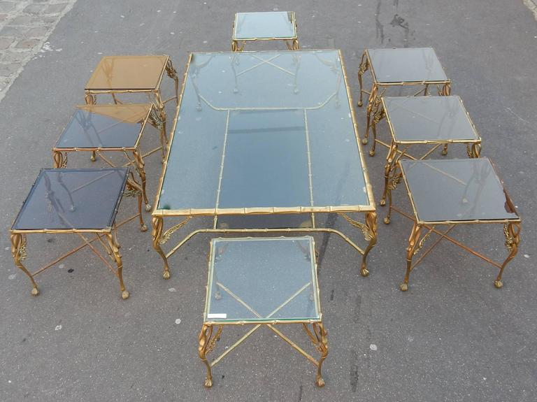 1950-1970 Bronze Coffee Table with Swans and Its Six Pieces of Sofas Signed GAD  In Good Condition For Sale In Paris, FR