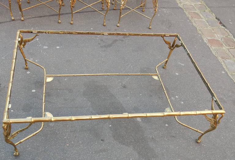 Patinated 1950-1970 Bronze Coffee Table with Swans and Its Six Pieces of Sofas Signed GAD  For Sale