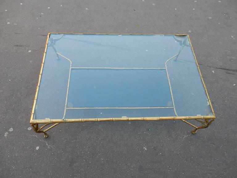 Brass 1950-1970 Bronze Coffee Table with Swans and Its Six Pieces of Sofas Signed GAD  For Sale