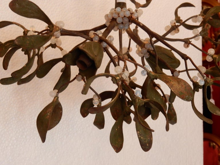 French 1900 Ball of Mistletoe Bronze Has Two Bulbs and Pearls Opaline For Sale