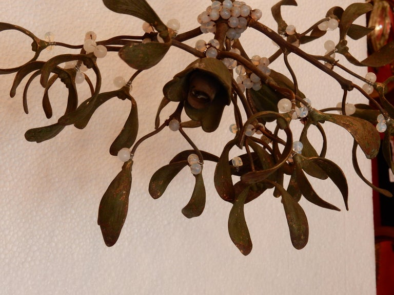 Patinated 1900 Ball of Mistletoe Bronze Has Two Bulbs and Pearls Opaline For Sale