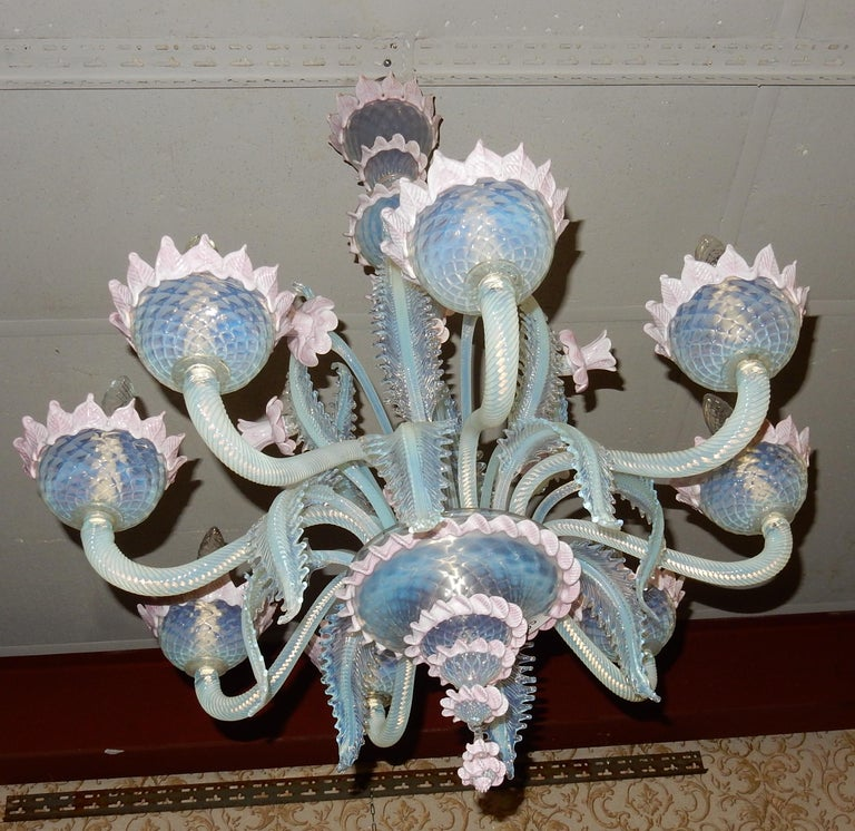 Italian 1950 Pair of Chandeliers Murano Blue Opalescent Color 8 Lights 4 Sconces For Sale