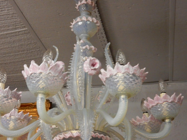 1950 Pair of Chandeliers Murano Blue Opalescent Color 8 Lights 4 Sconces For Sale 1