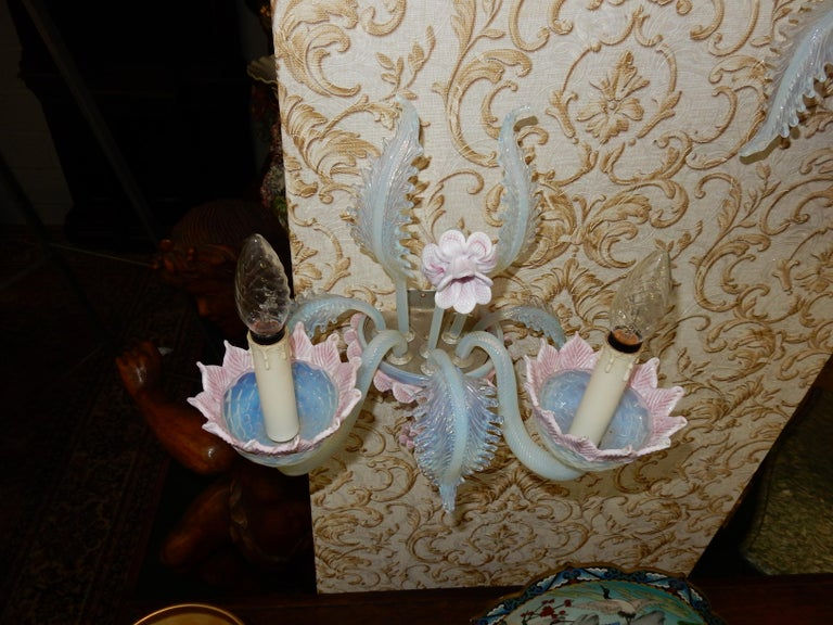 1950 Pair of Chandeliers Murano Blue Opalescent Color 8 Lights 4 Sconces For Sale 7