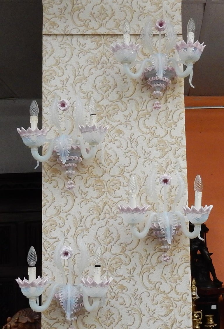 1950 Pair of Chandeliers Murano Blue Opalescent Color 8 Lights 4 Sconces For Sale 11