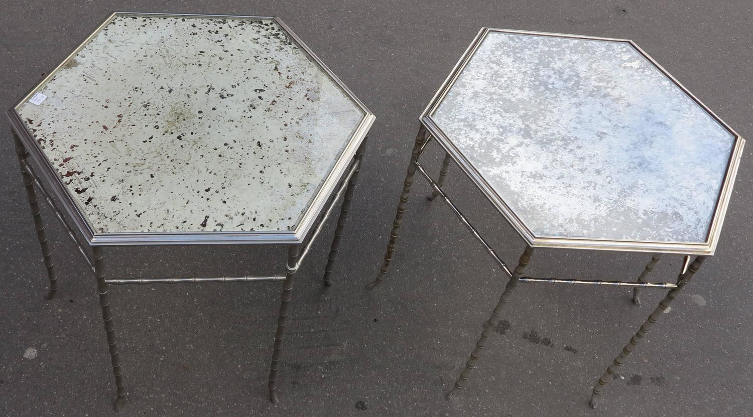 191970 hexagonal pedestal table pair in the style of for Miroir hexagonal