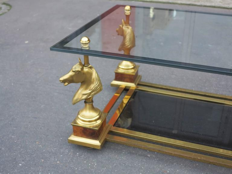 Bronze 1950-1970 Coffee Table Horses Heads in the Style of Maison Charles For Sale