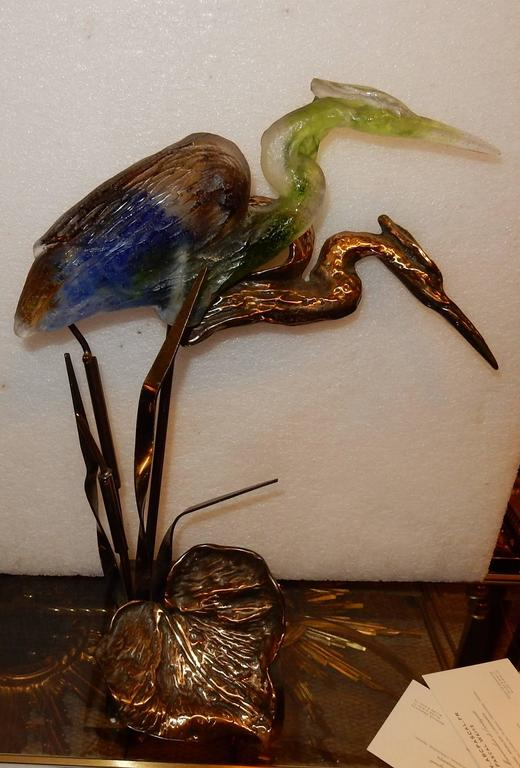 French Bronze Heron and Molten Glass, Signed Lohe, 1970-1980
