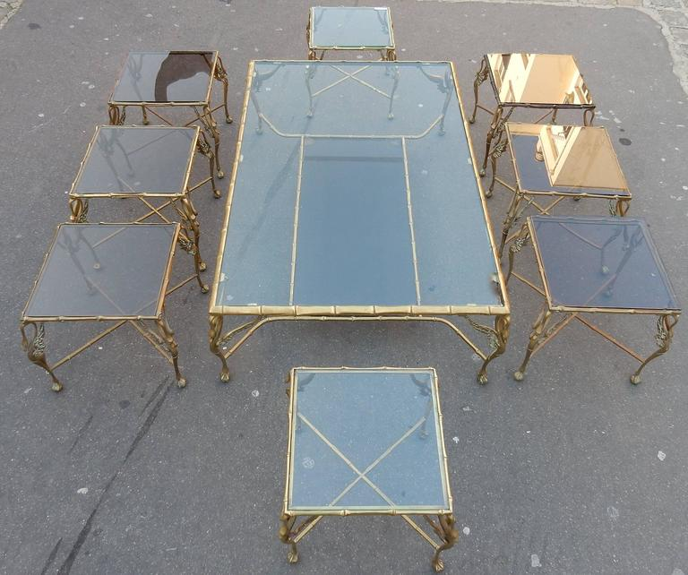 1950-1970 Bronze Coffee Table with Swans and Its Six Pieces of Sofas Signed GAD  For Sale 2