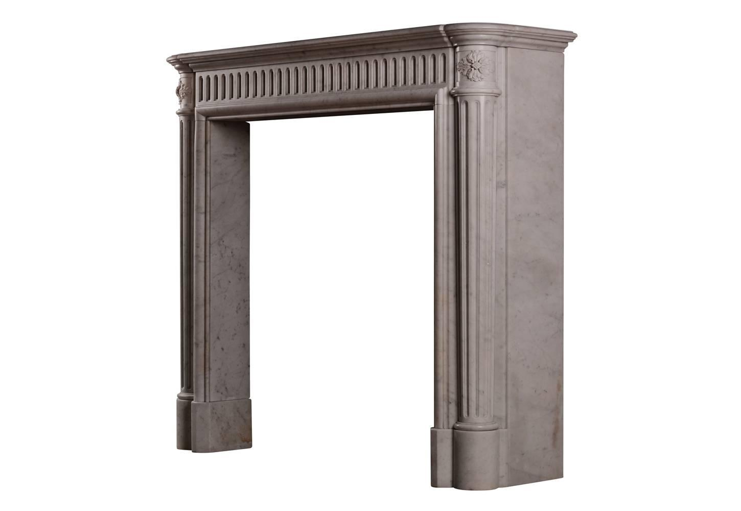Unusually Tall French Marble Antique Fireplace Mantel For
